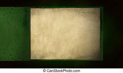 książka, stary, zielony, czysty, trzepiąc