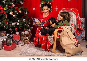 książka, syn, jej, czytanie, macierz boże narodzenie