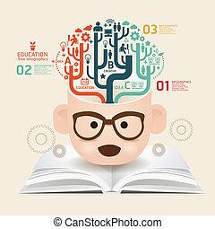 książka, szablon, używany, kwestia, cięty, infographics, /, ...