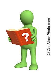 książka telefoniczna lub adresowa, 3d, marionetka, siła ...