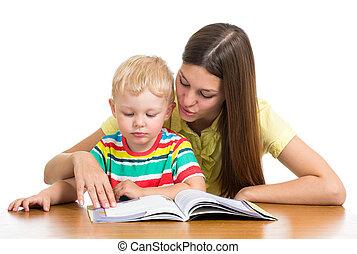 książka, uczeni, czytanie, koźlę, macierz