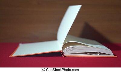 książka, urządzenia wzywające do telefonu, wiatr, paść się