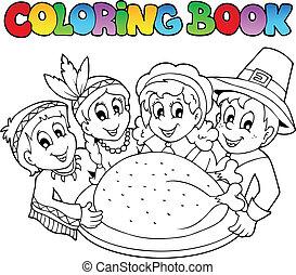 książka, wizerunek, kolorowanie, 3, dziękczynienie