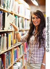 książka, wybierając, młody, portret, student