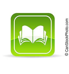 książka, zielony, ikona