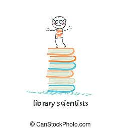 książki, biblioteka, naukowcy