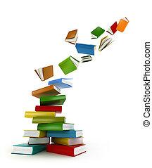 książki, cyklon, ., odizolowany, na białym