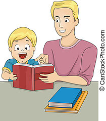 książki, czytanie, ojciec, syn