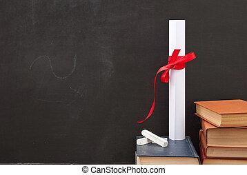 książki, dyplom, chalkboard