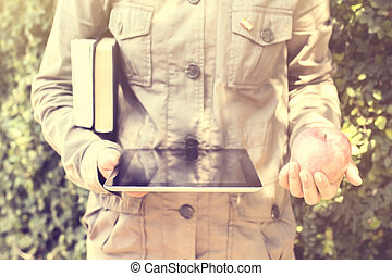 książki, dziewczyna, jabłko, tabliczka