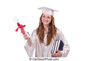 książki, dziewczyna, odizolowany, dyplom, biały, absolwent