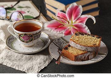 książki, herbata, do góry szczelnie, filiżanka
