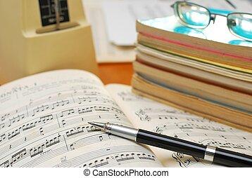 książki, muzyka, pióro, karb