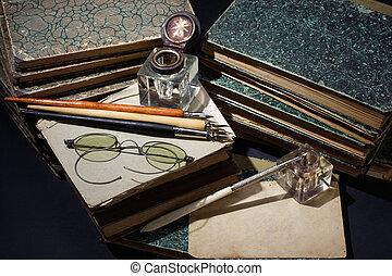 książki, pióro, rocznik wina, atrament, -, stary, papiery,...