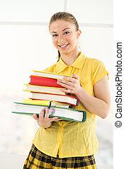 książki, samiczy student, szczęśliwy