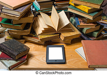 książki, stół, ebook, stary