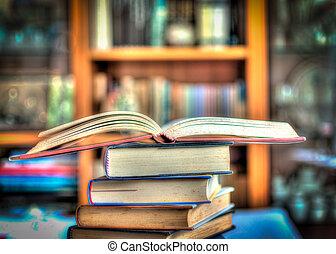 książki, stos, hdr