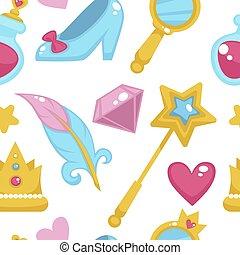 księżna, elementy, tło, różdżka, próbka, seamless, odizolowany, vector., jednorożec, magia, biały, wróżka