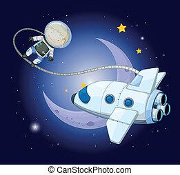 księżyc, badacz, młody