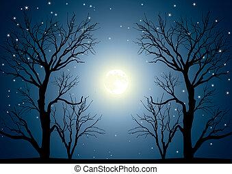 księżyc, drzewa