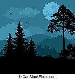 księżyc, krajobraz, drzewa, góry