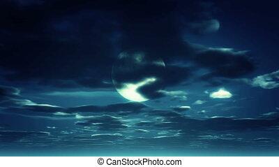 księżyc, niebo nocy