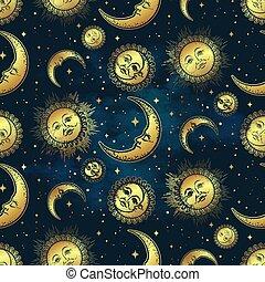księżyc, próbka, gwiazdy, złoty, słońce