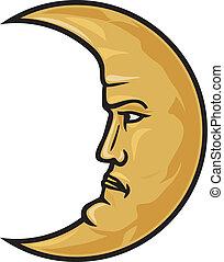 księżyc, rosnący, twarz