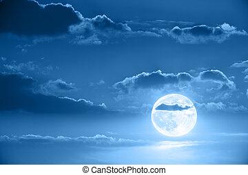 księżyc, w, niebo nocy