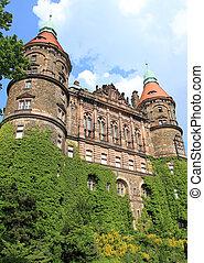 Castle in Ksiaz, Lower Silesian voivodship, Poland. Old landmark.