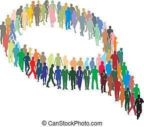 kształt, ludzie, duża grupa