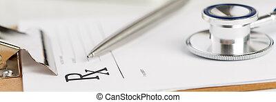 kształt, recepta, stół, obcięty, droga, leżący, stetoskop, srebro, pióro