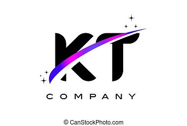 KT K T Black Letter Logo Design with Purple Magenta Swoosh
