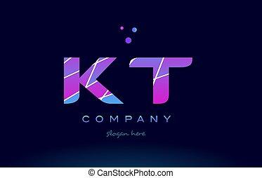 kt k t colored blue pink purple alphabet letter logo icon vector