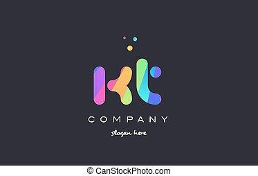 kt k t colored rainbow creative colors alphabet letter logo icon