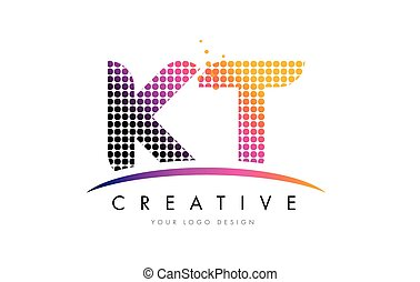 KT K T Letter Logo Design with Magenta Dots and Swoosh