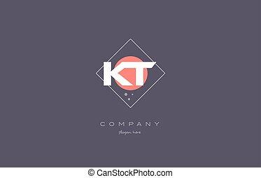 kt k t vintage retro pink purple alphabet letter logo icon template