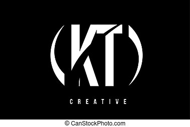KT K T White Letter Logo Design with Black Background.
