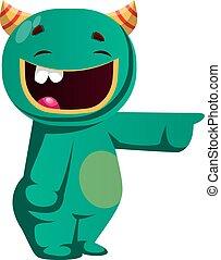 ktoś, potwór, ilustracja, wektor, zielony, śmiech