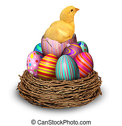 kuřátko, hatchling, vejce, velikonoční