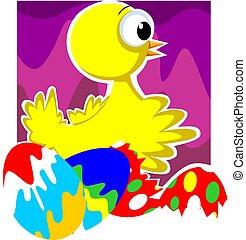 kuře, barvitý, vejce