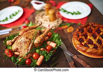 kuře, cowberry, straka, smažený
