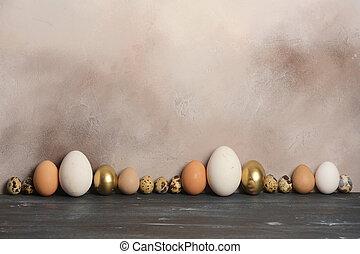 kuře, neobvyklý, sizes., husa, vejce, křepelka, guinea slepice
