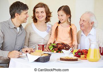 kuře, rodina, pečený