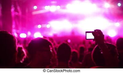 ku, atmosferyczny, tłum, festival., taniec, timelapse, patrząc, muzyka, cień, rusztowanie