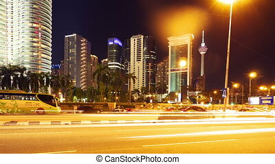 Kuala Lumpur at night, timelapse in motion