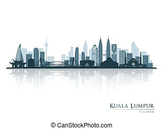 Kuala Lumpur, blue skyline silhouette with reflection.
