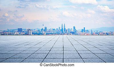 Kuala Lumpur city - Cityscape and skyline with empty floor.