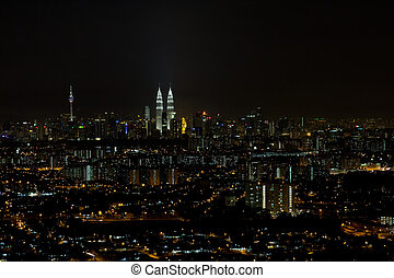 Kuala Lumpur Cityscape at Night Panorama