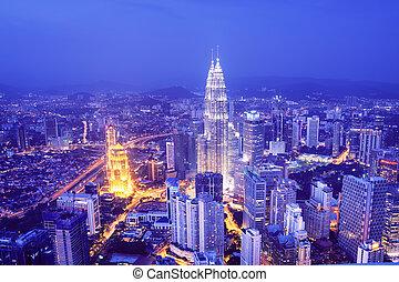 kuala lumpur, contorno, -, malasia
